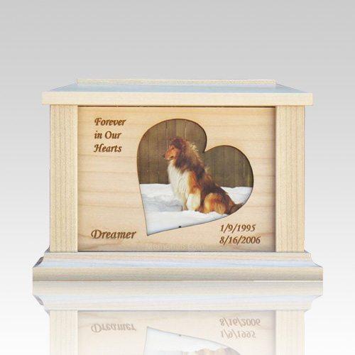 Pet Heart Picture Cremation Urn - Medium