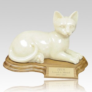 Feline Laying Cat Cremation Urn