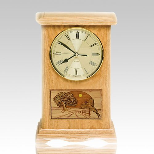 Pheasant Clock Oak Cremation Urn