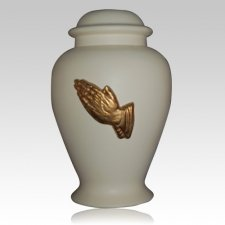 Praying Hands Ivory Cremation Urn