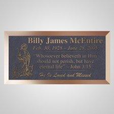 Jesus With Lambs Bronze Plaque