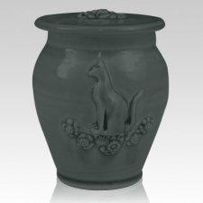 Kitty Stoned Denim Ceramic Cremation Urn