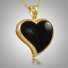 Indented Onyx Heart Keepsake Pendant II