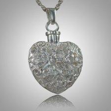 Flower Stone Heart Keepsake Pendant