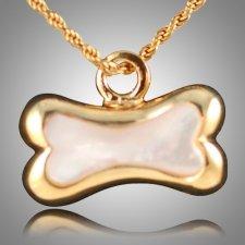Dog Bone Pearl Cremation Pendant IV