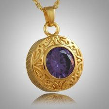 Round Purple Antique Keepsake Pendant II