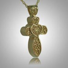 Cross with Hearts Keepsake Pendant IV