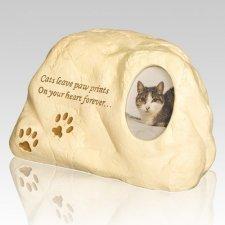 Cat Paw Print Rock Urn