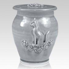 Kitty Powder Blue Ceramic Cremation Urn