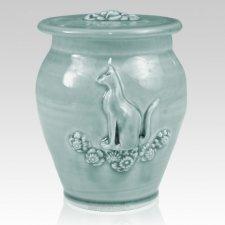 Kitty Variegated Blue Ceramic Cremation Urn