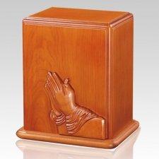 Prayer Hands Cherry Wood Cremation Urn