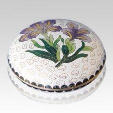White Iris Cloisonne Jewel Dish