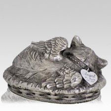 Angel Cat Cremation Urn Silver