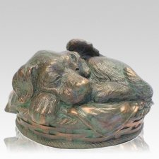Angel Dog Cremation Urn Bronze Patina