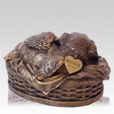 Angel Dog Cremation Urn Copper