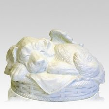Angel Dog Large Cremation Urn White