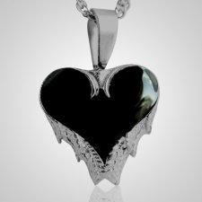 Angel Wings Black Inlay Heart Keepsake Pendant