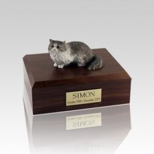 Angora Grey Small Cat Cremation Urn