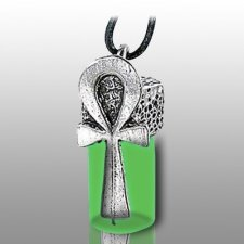 Ankh Green Pet Cremation Necklace Urn