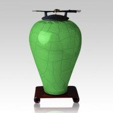 Raku Tall Aqua Cremation Urn
