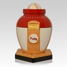 Atlanta Braves Baseball Cremation Urn