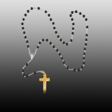 Black Agate Gold Cremation Rosary