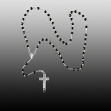 Black Agate Silver Cremation Rosary