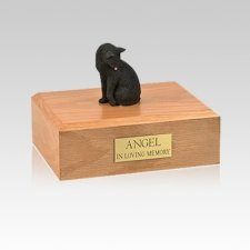 Black Grooming Small Cat Cremation Urn