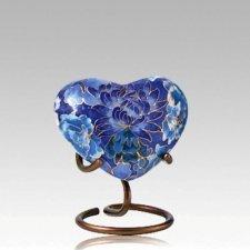 Blue Flowers Elite Heart Cloisonne Urn