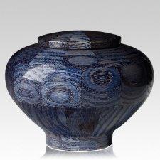 Blue Medium Wood Urn