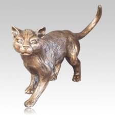Garden Cat Bronze Cremation Urn