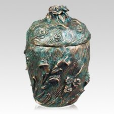 Garden Wheat and Roses Patina Bronze Urn