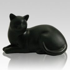 Black Cozy Cat Cremation Urn