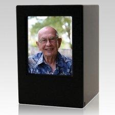 Black Eternity Large Photo Wood Urn