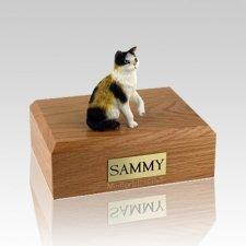Calico Sitting Medium Cat Cremation Urn