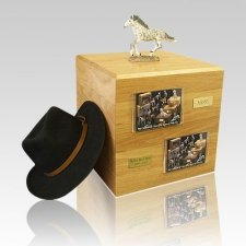 Dapple Gray Running Full Size Horse Urns