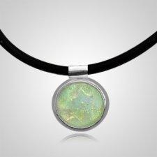 Pearl Dichroic Silver Opal Cremation Ash Pendant