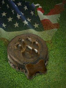 Bronze Dog Paw Urn