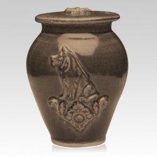 Dog Black Bronze Ceramic Cremation Urn
