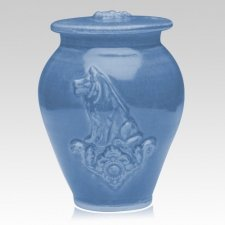 Dog Cobalt Blue Ceramic Cremation Urn
