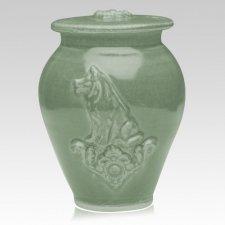 Dog Tea Green Ceramic Cremation Urn