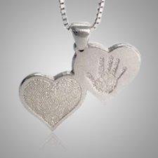 Double Heart Print Sterling Silver Keepsake