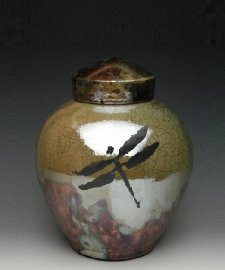 Dragonfly Medium Raku Cremation Urn