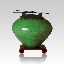 Raku Emerald Medium Cremation Urn