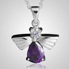 Flying Angel Amethyst Cremation Pendant III