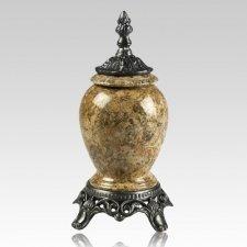Fossil Marble & Pewter Keepsake Urn