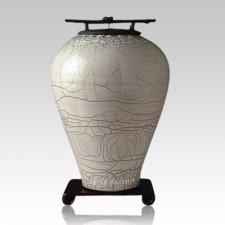 Raku Tall Gray White Cremation Urn