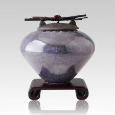 Raku Metallic Blue Large Cremation Urn