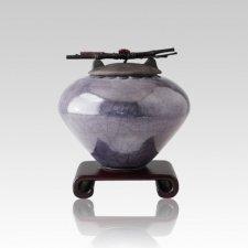 Raku Metallic Blue Small Cremation Urn