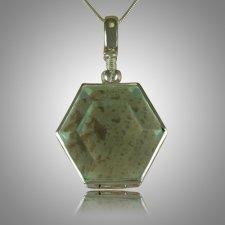 Hexagon Glass Locket Memorial Jewelry